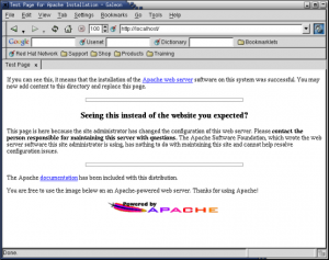 This is what you'll see if Apache is running correctly