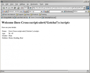 Attempted Cross-Site Scripting Attack Fails