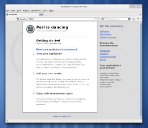 The default Dancer application draws the programmer into learning more about Dancer programming.